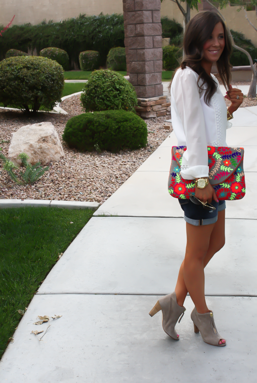 White Peasant Blouse, Denim Shorts, Suede Peep Toe Booties, Floral Clutch, Gap, Loft, Paul Green, Nordstrom 13