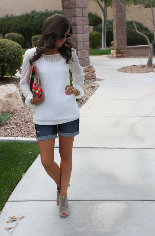 White Peasant Blouse, Denim Shorts, Suede Peep Toe Booties, Floral Clutch, Gap, Loft, Paul Green, Nordstrom 16