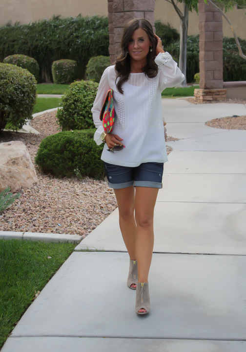 White Peasant Blouse, Denim Shorts, Suede Peep Toe Booties, Floral Clutch, Gap, Loft, Paul Green, Nordstrom 2