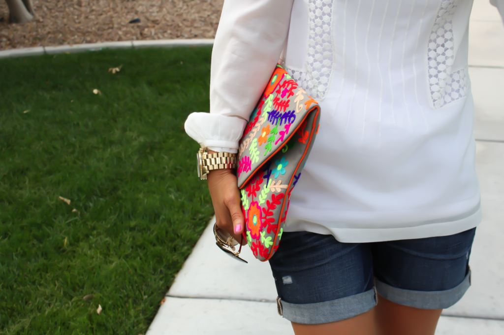 White Peasant Blouse, Denim Shorts, Suede Peep Toe Booties, Floral Clutch, Gap, Loft, Paul Green, Nordstrom 6