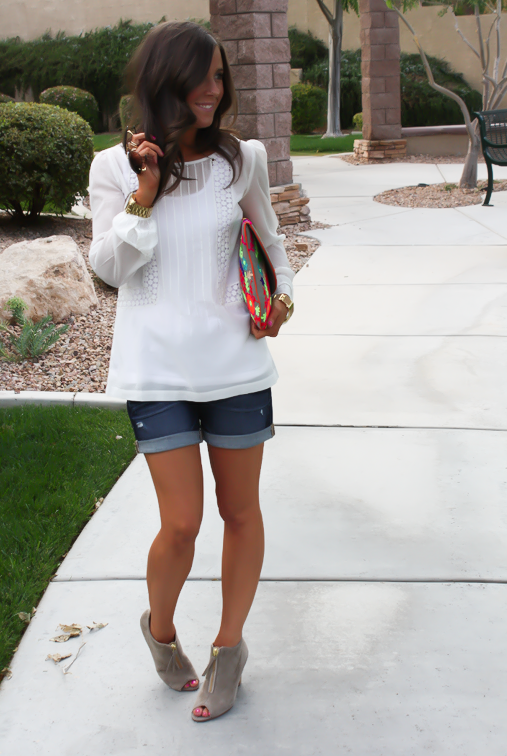 White Peasant Blouse, Denim Shorts, Suede Peep Toe Booties, Floral Clutch, Gap, Loft, Paul Green, Nordstrom