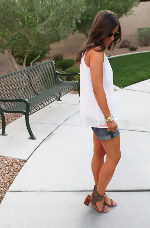 White and Neon Embroidered Sleeveless Blouse, Distressed Denim Shorts, Suede Sandals, Old Navy, Dolce Vita, Gap 12