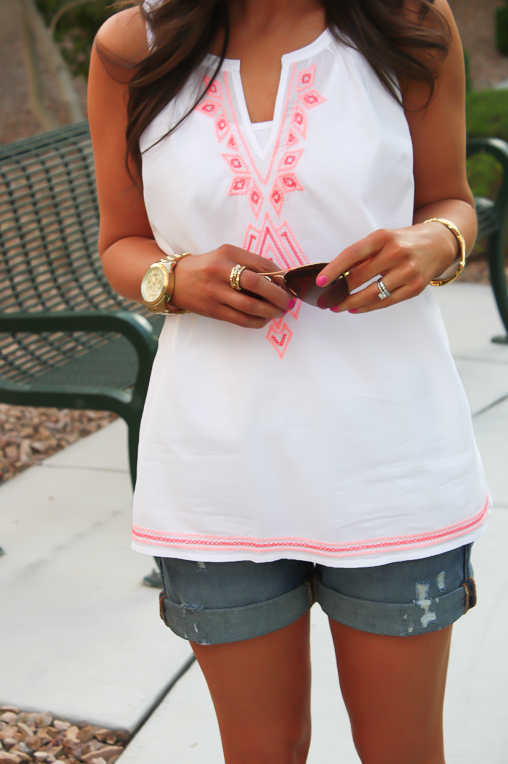 White and Neon Embroidered Sleeveless Blouse, Distressed Denim Shorts, Suede Sandals, Old Navy, Dolce Vita, Gap 5