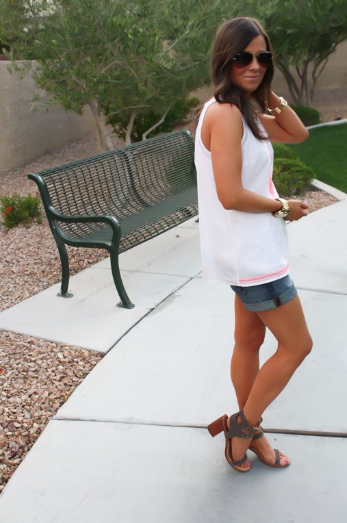 White and Neon Embroidered Sleeveless Blouse, Distressed Denim Shorts, Suede Sandals, Old Navy, Dolce Vita, Gap 8