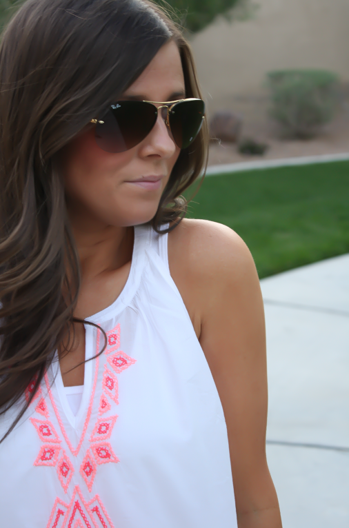 White and Neon Embroidered Sleeveless Blouse, Distressed Denim Shorts, Suede Sandals, Old Navy, Dolce Vita, Gap 9
