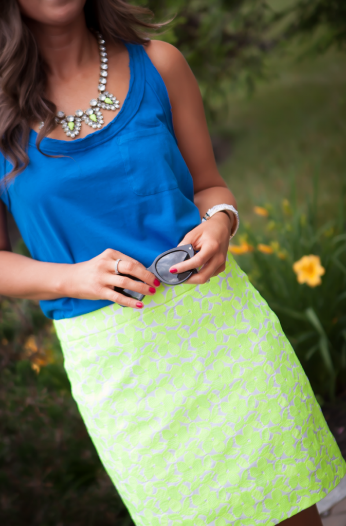 Citrus Floral Skirt, Blue Tank, J.Crew Factory, Silver Sandals 3