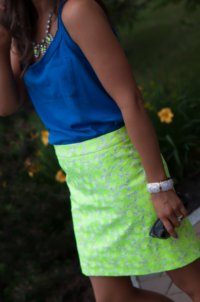 Citrus Floral Skirt, Blue Tank, J.Crew Factory, Silver Sandals 4