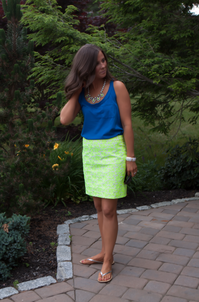 Citrus Floral Skirt, Blue Tank, J.Crew Factory, Silver Sandals