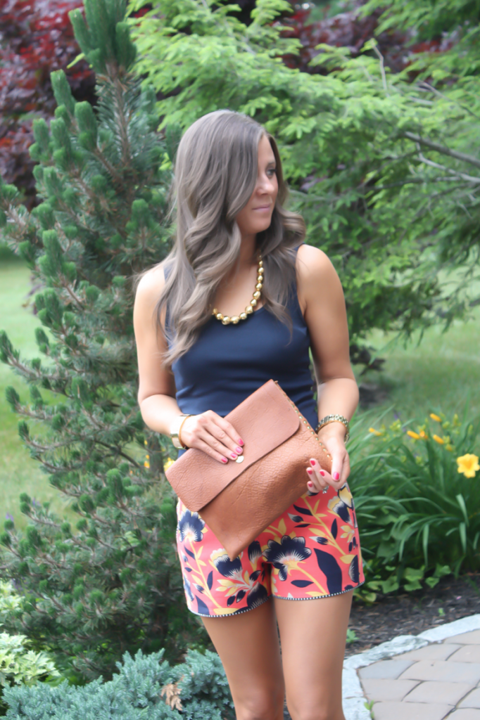 Orange and Navy Printed Shorts, Gold Necklace, Cognac Clutch, J.Crew, Old Navy 4
