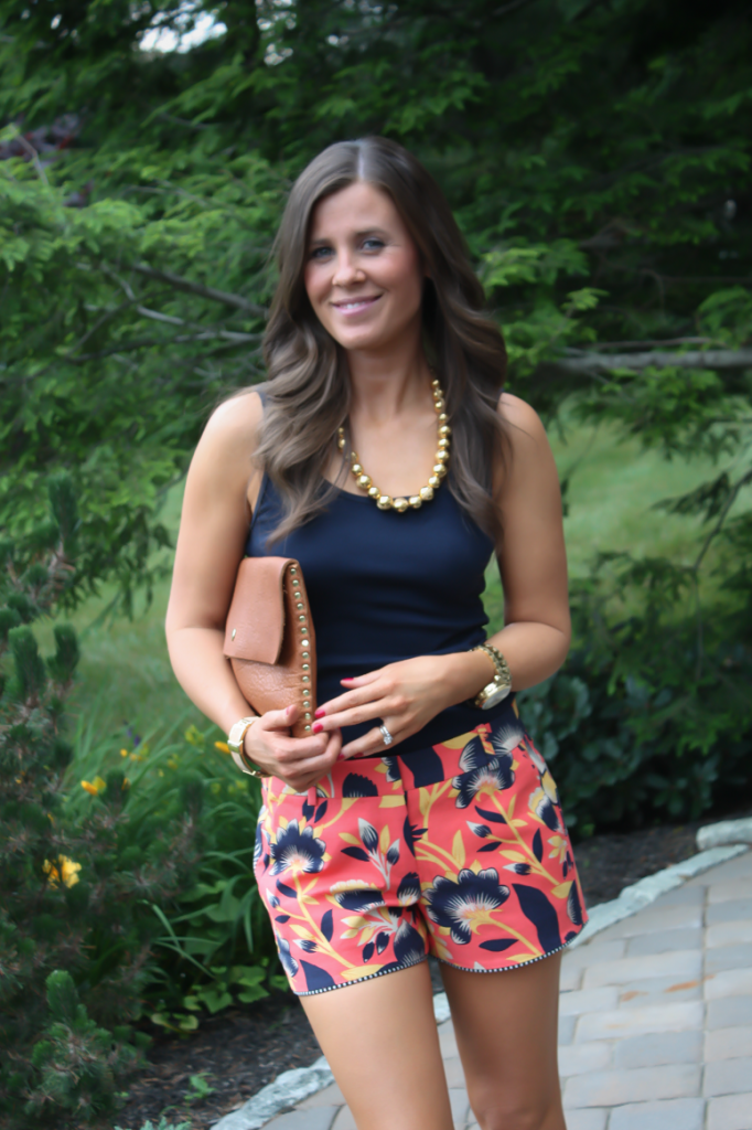 Orange and Navy Printed Shorts, Gold Necklace, Cognac Clutch, J.Crew, Old Navy