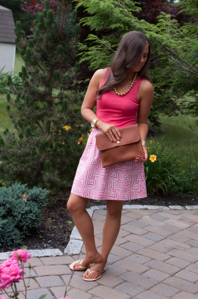 Pink Print Skirt, Pink Tank, Gold Sandals, J.Crew, Madewell, Old Navy, Gold Beaded Necklace 2
