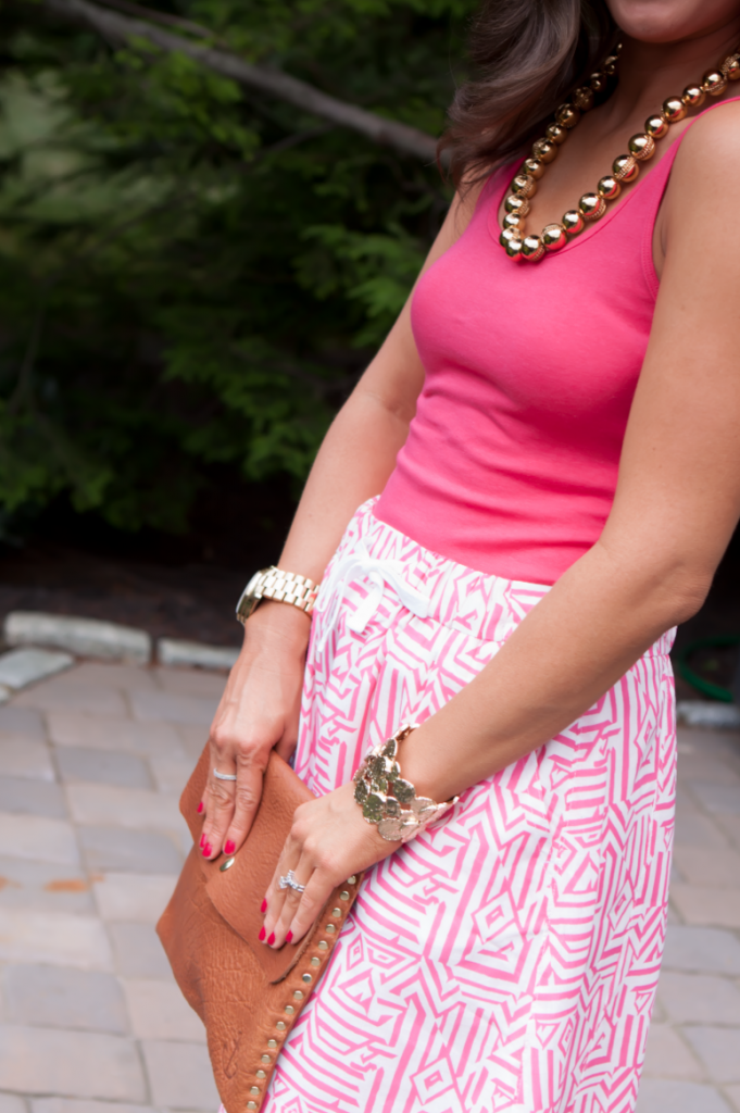 Pink Print Skirt, Pink Tank, Gold Sandals, J.Crew, Madewell, Old Navy, Gold Beaded Necklace 4