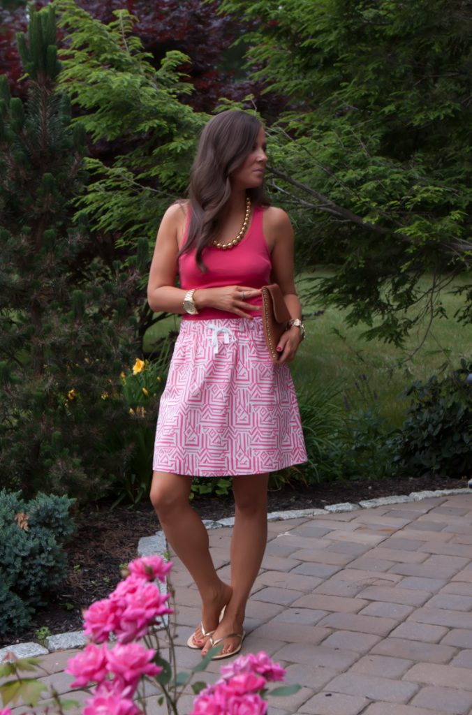 Pink Print Skirt, Pink Tank, Gold Sandals, J.Crew, Madewell, Old Navy, Gold Beaded Necklace