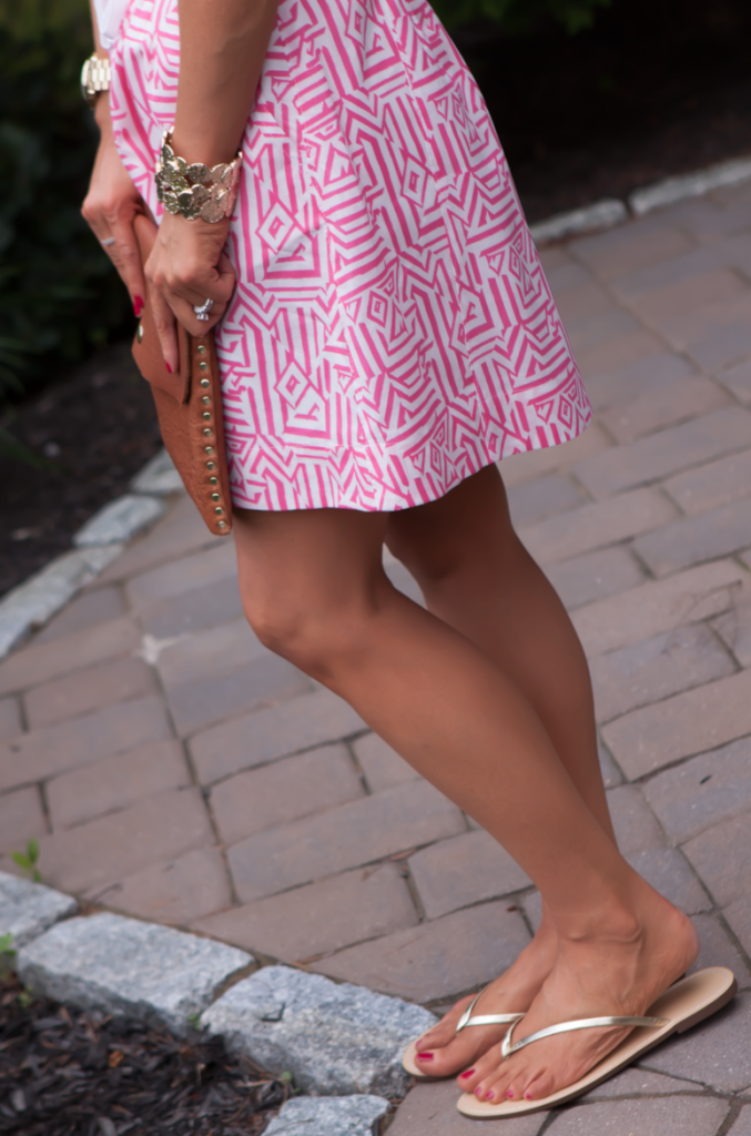 Pink Print Skirt, Pink Tank, Gold Sandals, J.Crew, Madewell, Old Navy, Gold Beaded Necklace 8