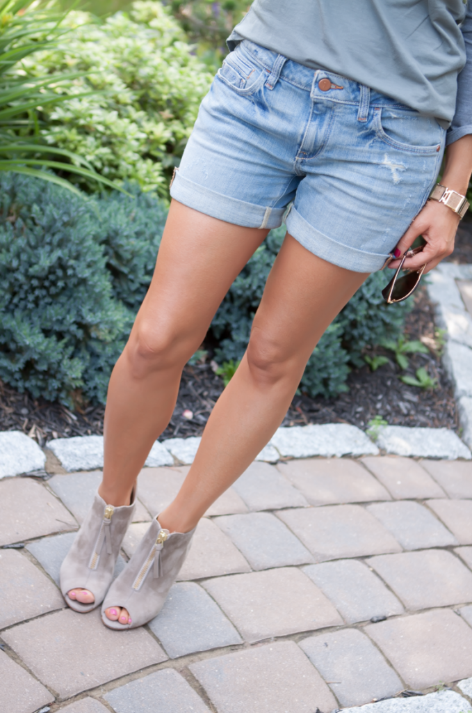 Toggery Tee, Cut Off Shorts, Peep Toe Booties, Toggery Brand, Paul Green, Anthropologie, Ray Ban 5
