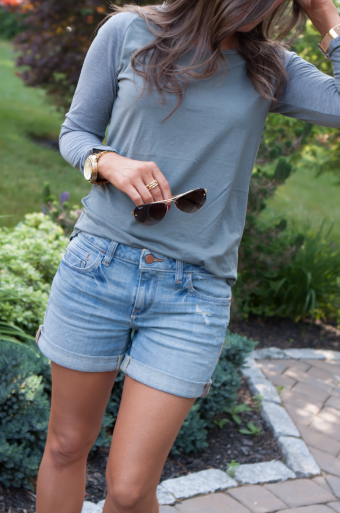 Toggery Tee, Cut Off Shorts, Peep Toe Booties, Toggery Brand, Paul Green, Anthropologie, Ray Ban 6