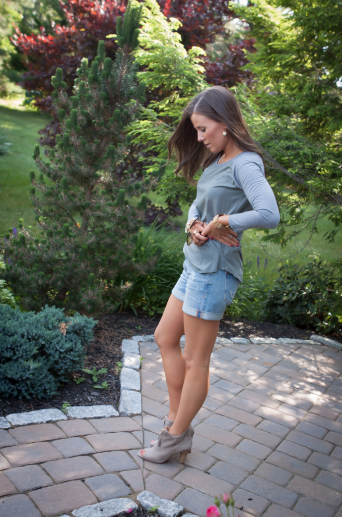 Toggery Tee, Cut Off Shorts, Peep Toe Booties, Toggery Brand, Paul Green, Anthropologie, Ray Ban