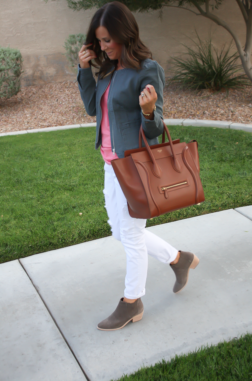 Grey Jacket, White Distressed Denim, Pink Tank, Grey Booties, Loft, Gap, Joie, Celine 11