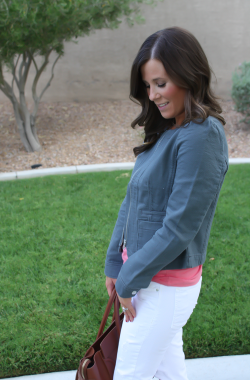 Grey Jacket, White Distressed Denim, Pink Tank, Grey Booties, Loft, Gap, Joie, Celine 14
