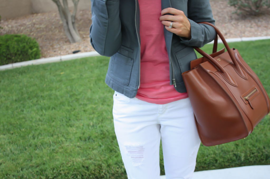 Grey Jacket, White Distressed Denim, Pink Tank, Grey Booties, Loft, Gap, Joie, Celine 15