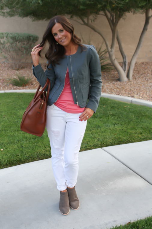 Grey Jacket, White Distressed Denim, Pink Tank, Grey Booties, Loft, Gap, Joie, Celine 5