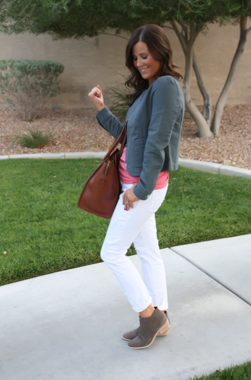 Grey Jacket, White Distressed Denim, Pink Tank, Grey Booties, Loft, Gap, Joie, Celine 7