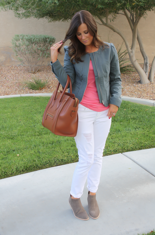 Grey Jacket, White Distressed Denim, Pink Tank, Grey Booties, Loft, Gap, Joie, Celine 9