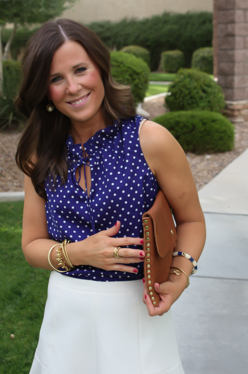 Navy Polka Dot Blouse, Ivory Fit and Flare Skirt, Cognac Wedges, Cognac Clutch, J.Crew, J.Crew Factory, Madewell 10