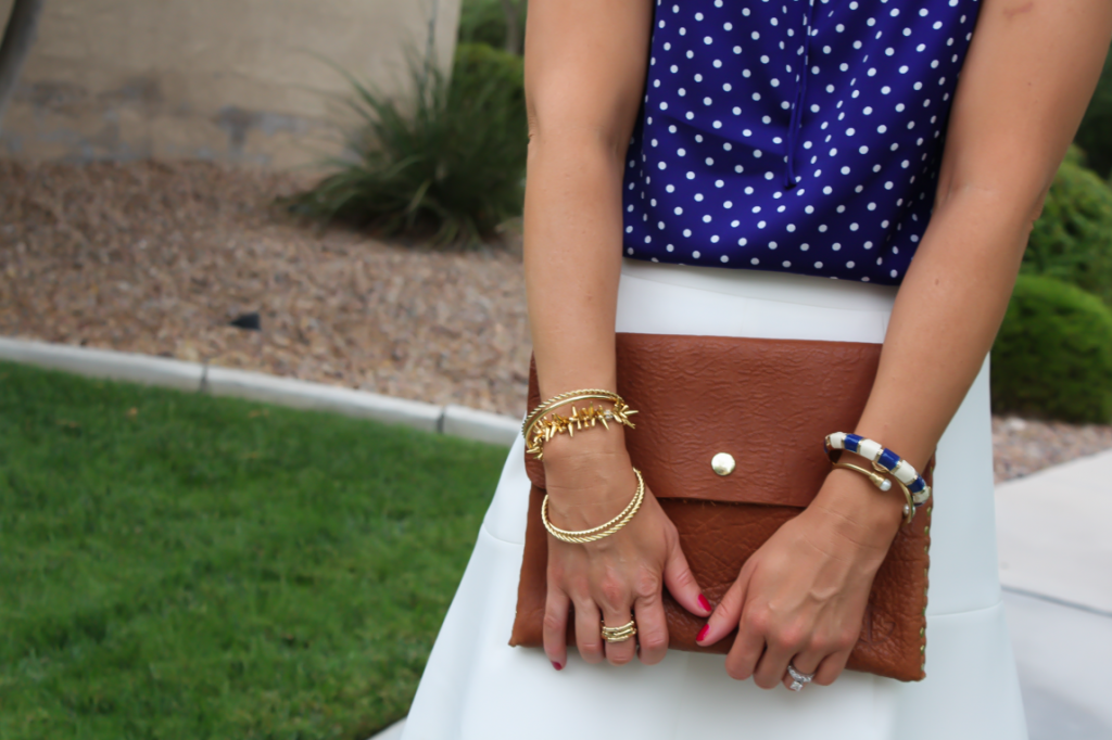 Navy Polka Dot Blouse, Ivory Fit and Flare Skirt, Cognac Wedges, Cognac Clutch, J.Crew, J.Crew Factory, Madewell 13
