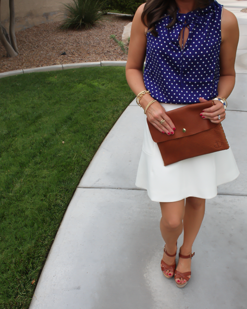 Navy Polka Dot Blouse, Ivory Fit and Flare Skirt, Cognac Wedges, Cognac Clutch, J.Crew, J.Crew Factory, Madewell 17