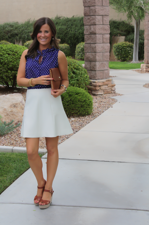 Navy Polka Dot Blouse, Ivory Fit and Flare Skirt, Cognac Wedges, Cognac Clutch, J.Crew, J.Crew Factory, Madewell 18