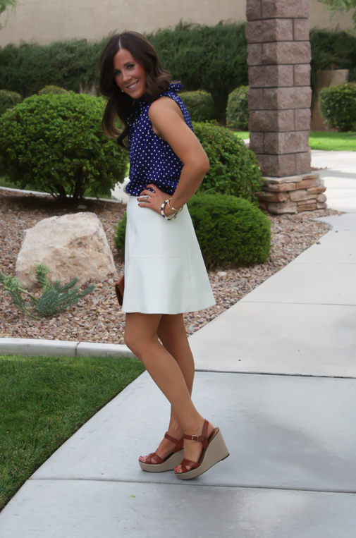 Navy Polka Dot Blouse, Ivory Fit and Flare Skirt, Cognac Wedges, Cognac Clutch, J.Crew, J.Crew Factory, Madewell 3