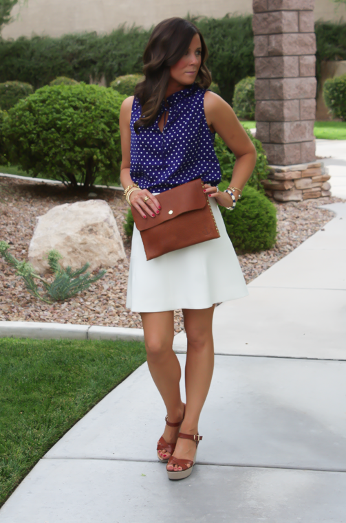 Navy Polka Dot Blouse, Ivory Fit and Flare Skirt, Cognac Wedges, Cognac Clutch, J.Crew, J.Crew Factory, Madewell 4