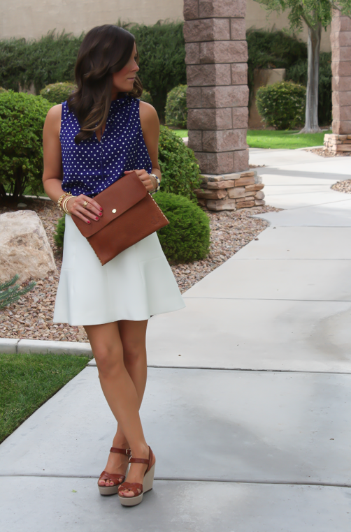 Navy Polka Dot Blouse, Ivory Fit and Flare Skirt, Cognac Wedges, Cognac Clutch, J.Crew, J.Crew Factory, Madewell 5