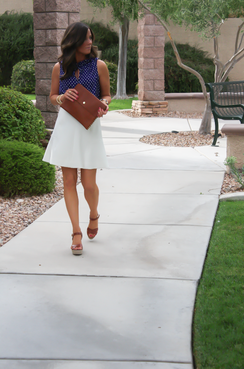 Navy Polka Dot Blouse, Ivory Fit and Flare Skirt, Cognac Wedges, Cognac Clutch, J.Crew, J.Crew Factory, Madewell 7