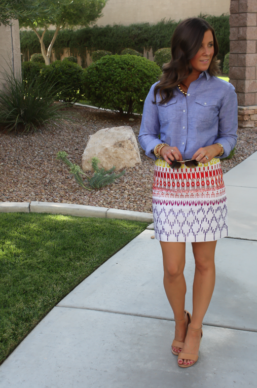 Nicole Miller Artelier Ikat Skirt, Chambray Blouse, Wedge Heels, eBay Designer Collective 14