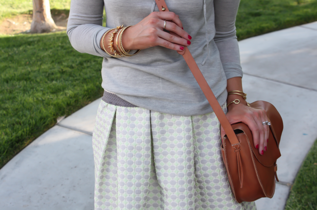 Polka Dot Skirt, Grey Hoodie, Crossbody, J.Crew, Anthropolgie, Madewell 13
