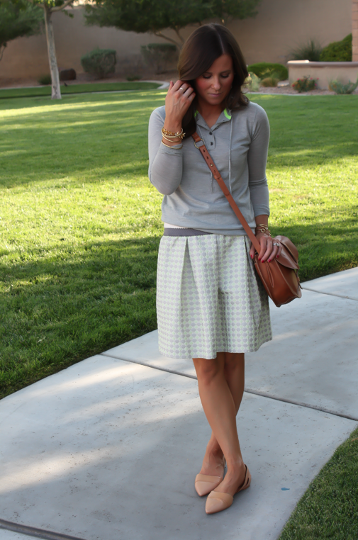 Polka Dot Skirt, Grey Hoodie, Crossbody, J.Crew, Anthropolgie, Madewell 2