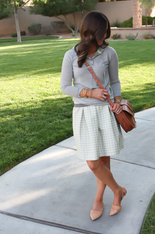 Polka Dot Skirt, Grey Hoodie, Crossbody, J.Crew, Anthropolgie, Madewell 7