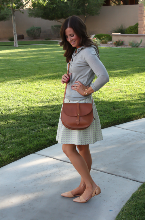 Polka Dot Skirt, Grey Hoodie, Crossbody, J.Crew, Anthropolgie, Madewell