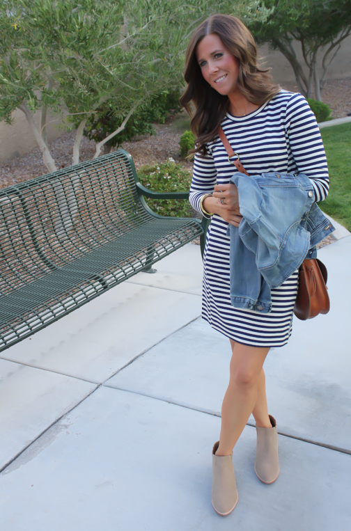 Striped Knit Dress, Denim Jacket, Saddle Bag, Booties, Joie, Madewell, J.Crew Factory, J.Crew  20