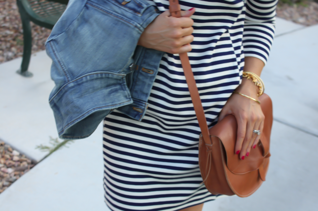 Striped Knit Dress, Denim Jacket, Saddle Bag, Booties, Joie, Madewell, J.Crew Factory, J.Crew  30