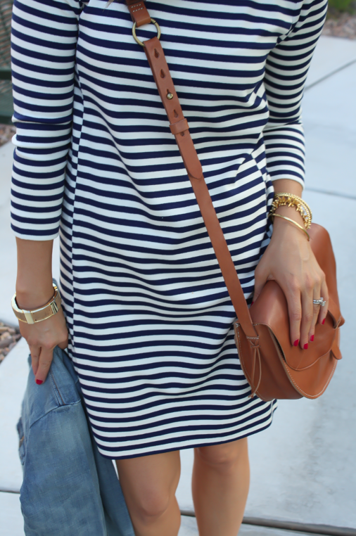 Striped Knit Dress, Denim Jacket, Saddle Bag, Booties, Joie, Madewell, J.Crew Factory, J.Crew  31