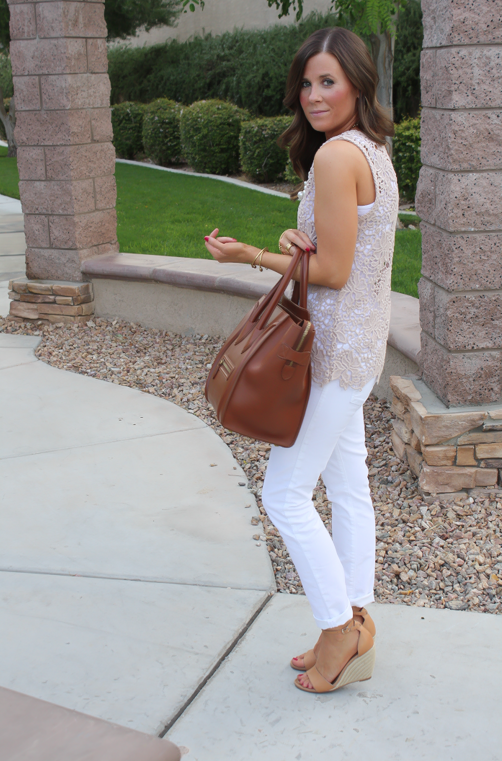 Tan Crochet Shell, White Skinny Denim, Tan Wedge Heels, Celine Bag, Loft, Banana Republic, Pearls 10