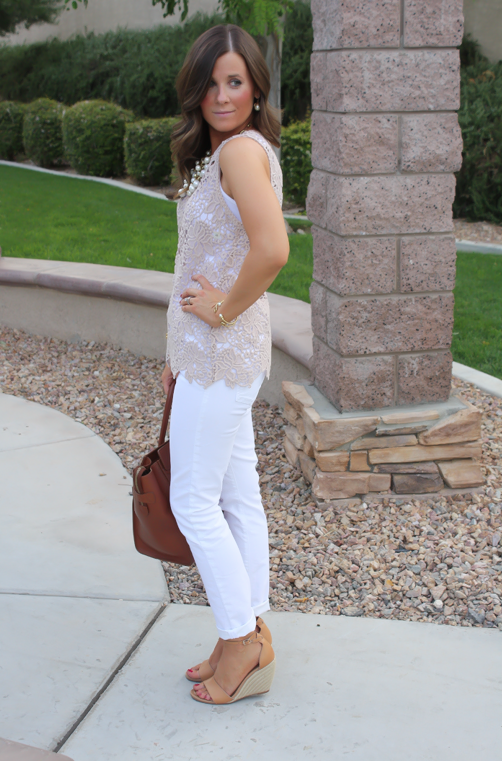 Tan Crochet Shell, White Skinny Denim, Tan Wedge Heels, Celine Bag, Loft, Banana Republic, Pearls 11