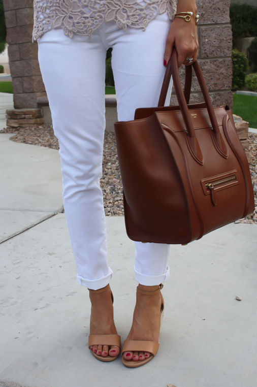 Tan Crochet Shell, White Skinny Denim, Tan Wedge Heels, Celine Bag, Loft, Banana Republic, Pearls 15