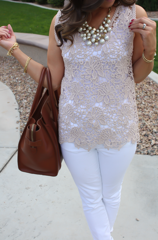 Tan Crochet Shell, White Skinny Denim, Tan Wedge Heels, Celine Bag, Loft, Banana Republic, Pearls 16