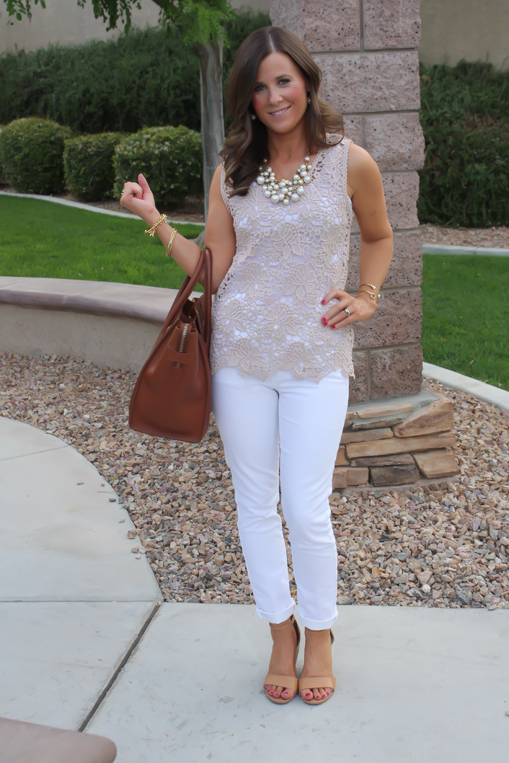 Tan Crochet Shell, White Skinny Denim, Tan Wedge Heels, Celine Bag, Loft, Banana Republic, Pearls 2