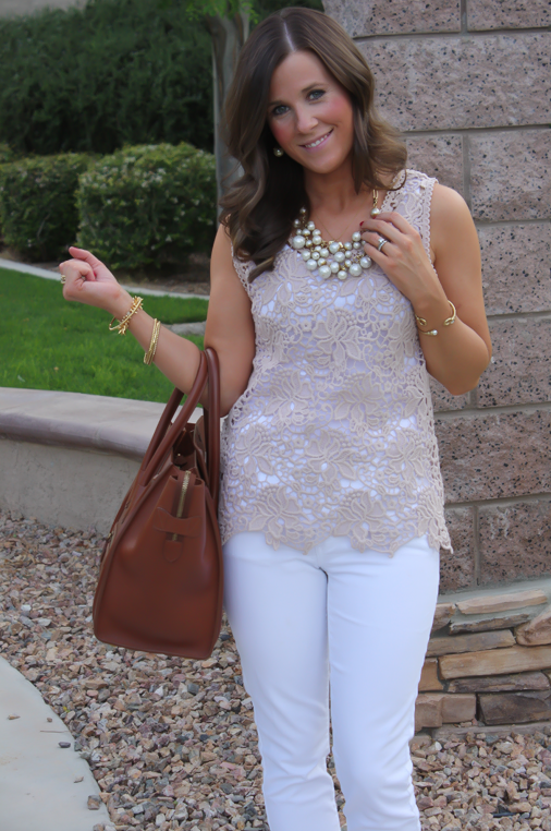 Tan Crochet Shell, White Skinny Denim, Tan Wedge Heels, Celine Bag, Loft, Banana Republic, Pearls 3