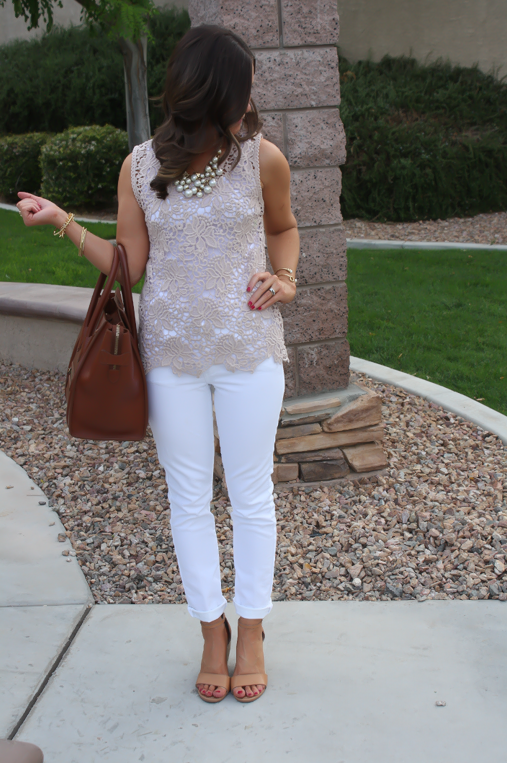 Tan Crochet Shell, White Skinny Denim, Tan Wedge Heels, Celine Bag, Loft, Banana Republic, Pearls 4